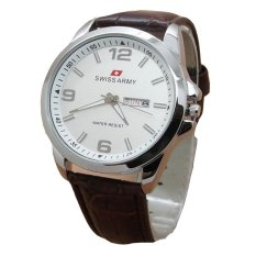 Swiss Army Jam Tangan Pria - Strap Kulit - Dark Brown - Sa 2447 DB