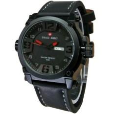 Swiss Army - Jam Tangan Pria - Strap Leather - Hitam List Merah - SA7169T