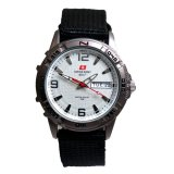 Spesifikasi Swiss Army Jam Tangan Pria Tali Canvas Hitam Plat Putih Sa7878 Dan Harganya