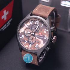 Jual Jam Tangan Pria Swiss Army Chrono Aktif Strap Kulit Coklat Online