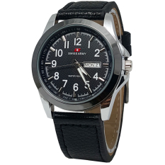 Diskon Produk Swiss Army Jam Tangan Unisex Leather Strap Black