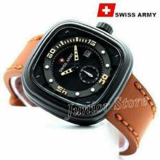 Harga Swiss Army Kotak Sa1559 Jam Tangan Pria Tali Kulit Coklat Kuning Online Dki Jakarta