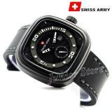 Spesifikasi Swiss Army Kotak Sa1559 Jam Tangan Pria Tali Kulit Hitam Putih Dan Harganya