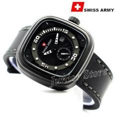 Spesifikasi Swiss Army Kotak Sa1559 Jam Tangan Pria Tali Kulit Hitam Putih Beserta Harganya