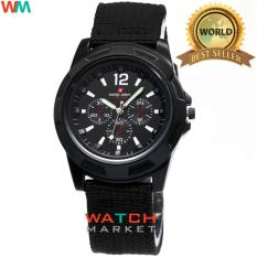 Swiss Army LZ003 - Jam Tangan Pria - Tali Kanvas Full Black