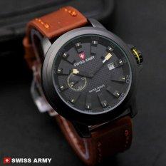 Swiss Army Man Jam Tangan Pria - Strap Kulit terbaru trend&sporty