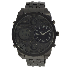 Beli Swiss Army Men S Dual Time Hitam Stainless Sa 1505 Blk Wh Di Indonesia