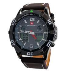 Toko Swiss Army Mens Jam Tangan Pria Strap Kulit Dual Time Cokelat Tua Sa884 Online