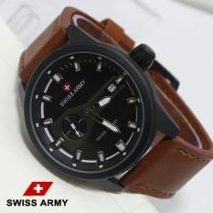 Kualitas Swiss Army Mens Jam Tangan Pria Terlaris Detik Samping Strap Kulit Sa23994 Swiss Army