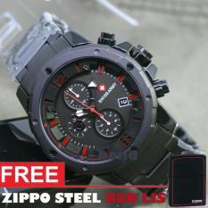 Promo Swiss Army Original Chrono Aktif Jam Tangan Pria Sa1222 Original Stainless Steel Strap Free Zippo Steel Red Lis