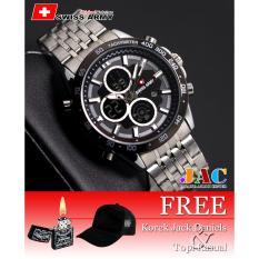 Swiss Army Dual Time Original - Jam Tangan Pria - SA6265 - Stainless Steel - Tanggal Aktif [ BONUS ] Topi Dan Korek Api Jack Daniel