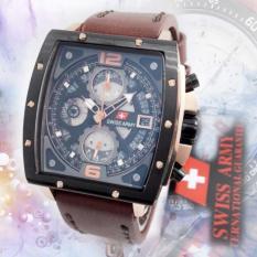Promo Swiss Army Original Sa2290 Jam Tangan Pria Chronograph Leather Strap Murah