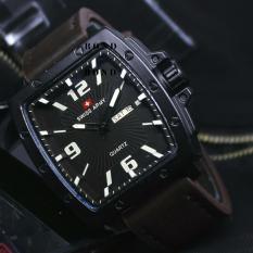 Swiss Army original SA7830 Jam Tangan Pria Darkbrown Leather Strap
