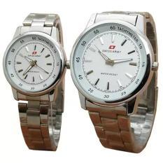 Harga Swiss Army Pasangan Atau Couple Jam Tangan Pria Dan Wanita Silver Dial Putih Stainless Steel Tw0283Art Original