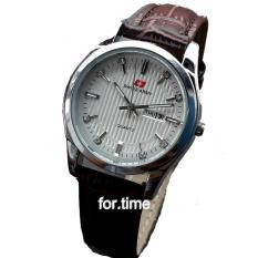 Spesifikasi Swiss Army Sa0084L Jam Tangan Wanita Strap Kulit Coklat Tua Silver Putih Bagus