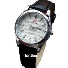 Beli Swiss Army Sa0084L Jam Tangan Wanita Strap Kulit Hitam Silver Putih Secara Angsuran
