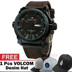 Swiss Army SA1441 DBR Water Resist 50M Jam Tangan Pria - Tali Kulit - Kasual / Sporty Watch - Bonus Topi Volcom Limited Hat