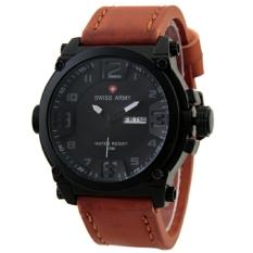 Swiss Army Sa279Ct Coklat Putih Jam Tangan Pria Analog Leather Strap Asli