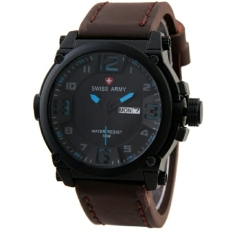 Jual Swiss Army Sa279Ct Coklat Tua Biru Jam Tangan Pria Analog Leather Strap Import