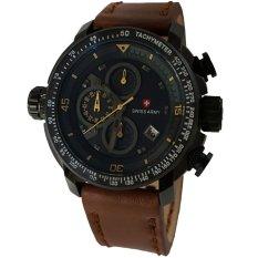Beli Swiss Army Sa5046M Cronograph Jam Tangan Pria Strap Leather Coklat Lis Kuning Swiss Army