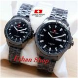 Swiss Army Sa5153Fg Jam Tangan Couple Stainlesstell Strap Full Black Murah
