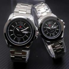 Harga Swiss Army Sa5768Art Jam Tangan Couple Stainless Steel Putih Hitam Gold Yang Bagus