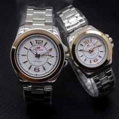 Swiss Army Sa5768Ds Jam Tangan Couple Stainless Steel Putih Hitam Gold Asli
