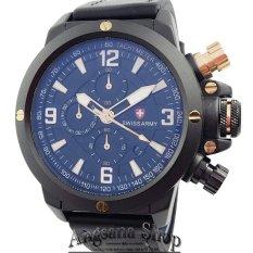 Swiss Army Sa6684 - Jam Tangan Fashion Pria - Casual Perform - Fiture Chronograph - Limited Edition - Strap Leather - Coklat tua