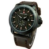 Jual Swiss Army Sa8766 Crhono Detik Jam Tangan Pria Leather Strap Cokelat Tua Hitam Online
