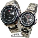 Swiss Army Sata0299 Jam Tangan Couple Formal Pria Dan Wanita Elegent Fiture Analog Artistic Date Day Stainless Silver Black Swiss Army Diskon