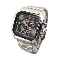 Jual Swiss Army St7676 Dual Time Jam Tangan Silver Formal Pria Original
