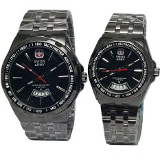 Beli Swiss Army Tanggal Sa8100Lds Jam Tangan Couple Strap Stainless Steel Hitam Nyicil