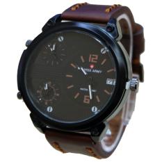 Spesifikasi Swiss Army Triple Time Jam Tangan Pria Coklat Tua Strap Kulit Sa653 Paling Bagus