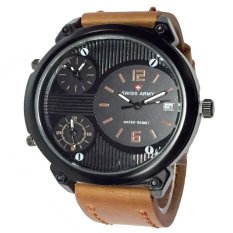 Harga Swiss Army Triple Time Jam Tangan Pria Leather Strap Sa 1560 Light Brown Swiss Army Original