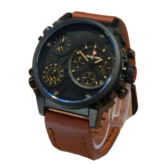 Jual Swiss Army Triple Time Jam Tangan Pria Leather Strap Sa 4210 Light Brown Termurah