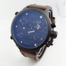 Jual Swiss Army Triple Time Sa4197St Jam Tangan Pria Strap Tali Kulit Chronograph Coklat Tua Grosir