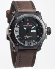 Harga Swiss Army Watch Jam Tangan Pria Hitam Biru Tali Kulit Coklat Tua Sa005 Lengkap