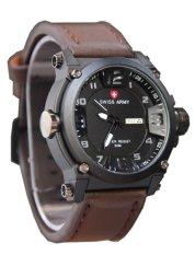 Beli Swiss Army Watch Jam Tangan Pria Tali Kulit Sa005 Cokelat Tua Putih Kredit Jawa Barat