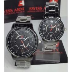 Swiss Army/Swiss Time Pasangan Atau Couple - Jam Tangan Pria Dan Wanita - Hitam - Stainless steel - SA-40144 - DS