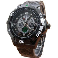 Harga Swiss Army Time Dual Time Jam Tangan Pria Sa0206 Black Stainless Steel Swiss Army Baru