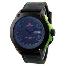 Swiss Navy HC5852 Black Green Leather Casual Jam Tangan Pria