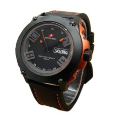 Swiss Navy HC5852 Brown Leather Casual Jam Tangan Pria