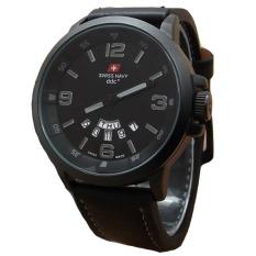 Swiss Navy Jam Tangan Pria - Leather Strap - Black - SN 1128 BG