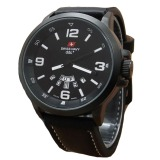 Swiss Navy Jam Tangan Pria Leather Strap Hitam Sn 1128 Hp Asli