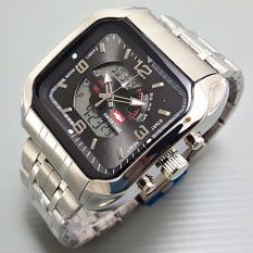 Harga Swiss Time Army Jam Tangan Pria Stainlesstell Strap Dual Time Sa 8080 Silver Hitam