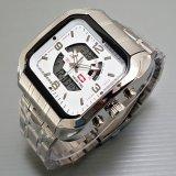 Diskon Swiss Time Army Jam Tangan Pria Stainlesstell Strap Dual Time Sa163Trhj74 Silver Swiss Time