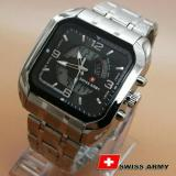 Toko Swiss Time Army Jam Tangan Pria Stainlesstell Strap Dual Time Sa66787D Hitam Swiss Army Online