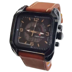 Diskon Swiss Time Mens Jam Tangan Pria Tali Kulit Double Time Coklat Muda Swiss Army