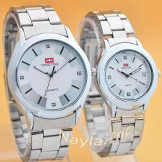 Promo Toko Swiss Time St53D67Ny Jam Tangan Couple Stainless White Silver