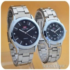 Swiss Time/Army - Jam Tangan Couple Stainless Steel - C Silver